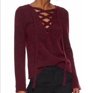 Lace up sweater- burgundy